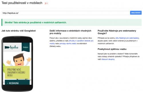 test použitelnosti mobily google